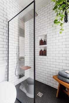 Black and White Industrial Bathroom – Cherished Bliss Install this luxury spa style shower head without needing to add plumbing. Looks perfect in this industrial bathroom! Industrial Bathroom Design, Bathroom Interior Design, Interior Modern, Industrial Furniture, Kitchen Interior, Zen Bathroom, White Bathroom, Relaxing Bathroom, Bathroom Trends