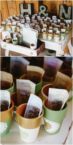 Wedding favors, painted pots, packets of seeds, learn more on borrowedandblue.com // Jeffrey C. Gleason Photography