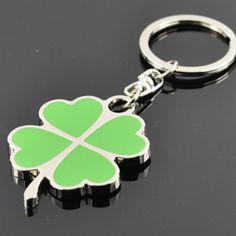 Customize Silver Keychain KEYCHAiN LUCKY CLOVER SILVER KEYRING KEYFOB GREEN