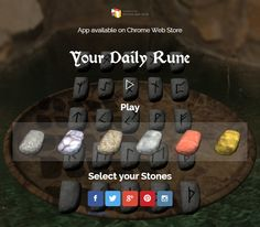 UPDATE: optimized stone physics, more social links. optimized UI for smaller devices.  #runes #runen #divination #dailyrune #orakel #oracle