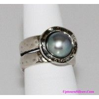 Didae Shablool Israel Artisan Gray Cultured Pearl Hammered 925 ..