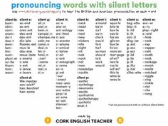 Pronouncing words with silent letters English Lessons, English Words, English Grammar, English Language, Language Arts, Teaching Grammar, Teaching Tips, Teaching English, Learn English Today