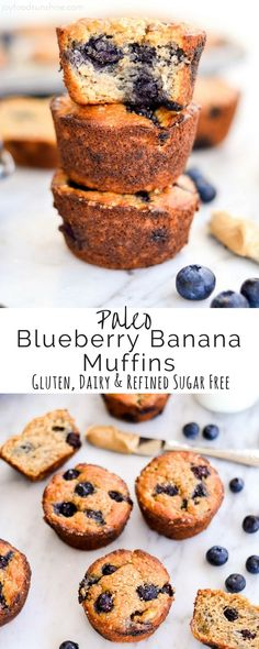 Paleo Blueberry Banana Muffins taste just like a bakery muffin but are healthy! Paleo, gluten-free, dairy-free Paleo Blueberry Banana Muffins taste just like a bakery muffin but are healthy! Paleo Blueberry Muffins, Healthy Muffins, Blue Berry Muffins, Paleo Breakfast Muffin, Breakfast Casserole, Clean Banana Muffins, Breakfast Recipes, Free Breakfast, Flourless Muffins