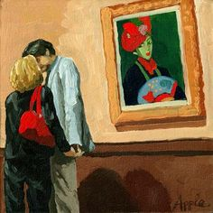 """Linda Apple ~ """"Under Watchful Eyes""""   ~  """"I happened to catch this couple in an intimate moment at the art museum. I don't often see kissing at the museum. It reminded me of Gustav Klimt and his famous painting -""""The Kiss"""".  I was not the only one to view this affection."""""""