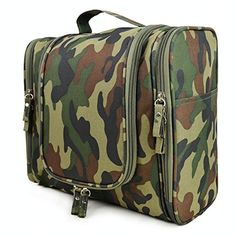 SunKni Universal Toiletry Bag Wash Bag Bathroom Hanging Bag Travel Bag Zipper Storage Bag Drawer Dividers Cosmetic Makeup Pouch with Multi Pockets Hook for Mens Womens Girls Boys Kids Camouflage >>> Click image for more details.