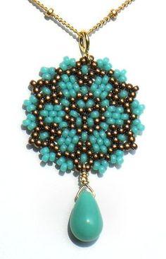 Circle peyote...Beadwoven Single Mandala Necklace / Aqua by littlemusedesigns, $38.00