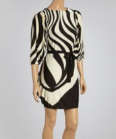 Look what I found on #zulily! Shana-K Black & Cream Stripe Tunic by Shana-K #zulilyfinds