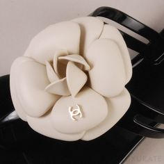 chanel camellia roses thong sandals