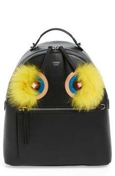 8e054d0e2d Fendi  Monster  Leather Backpack with Genuine Fox Fur  amp  Snakeskin Trim Fendi  Backpack
