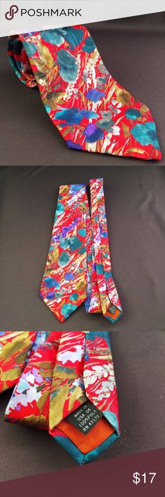 """Andhurst Abstract Floral Tie 59"""" 100% Polyester Red Floral Tie by Andhurst Excellent condition. Smoke free. 59"""" Length  4"""" width  ECT5 Andhurst Accessories Ties"""