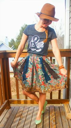 the ampersand dress tucked into a skirt