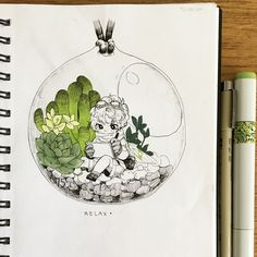 """9,910 Likes, 79 Comments - Rena :) (#ocs_wonderland) (@drawing.in.wonderland) on Instagram: """"#inkwonderland17 Day 15: terrariums! ~~~ I'm slacking off so here's a quick one (I also hella…"""""""