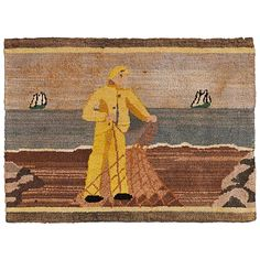 Fisherman Hooked Grenfell Mat | From a unique collection of antique and modern more folk art at https://www.1stdibs.com/furniture/folk-art/more-folk-art/