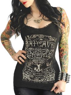 "Inked Shop | Women's ""Batcave"" Lace Cami by Serpentine Clothing (Black) #InkedShop #batcave #RockerChic"