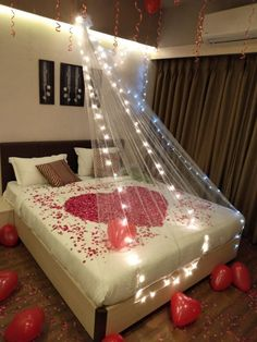 Wedding Night Room Decorations, Romantic Room Decoration, Birthday Room Decorations, Romantic Bedroom Decor, Simple Balloon Decoration, Romantic Room Surprise, Birthday Surprise For Husband, Bed With Led Lights, Romantic Valentines Day Ideas