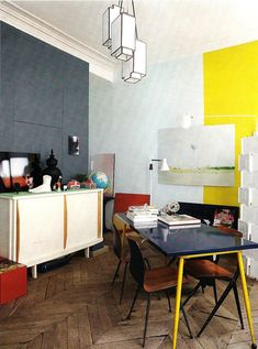 Yellow and blue walls! And a great floor.