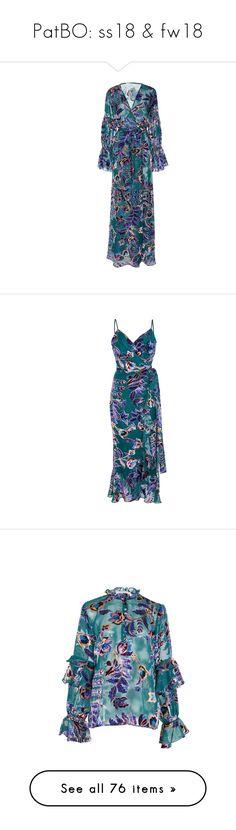 """PatBO: ss18 & fw18"" by livnd ❤ liked on Polyvore featuring patbo, livndfashion, springsummer2018, livndpatbo, dresses, long sheer dress, long velvet dress, blue wrap dress, blue maxi dress and wrap dress"
