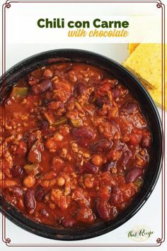 Hearty meaty Chili con Carne with a secret ingredient - chocolate! The chocolate balances out the acidity of the tomatoes and deepens the overall flavor of the chili. Game Day Chili Recipe, Con Carne Recipe, Chocolate Chili, Slow Cooker Turkey, Chili Recipes, Soup Recipes, Recipies, Soup And Sandwich, Delicious Dinner Recipes