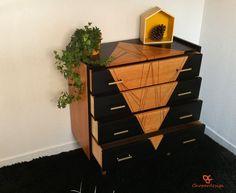 Commode vintage années 60 4 tiroirs en bois