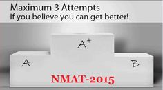 Results Declared - NMAT 2015  NMAT is conducted in a time frame of 3 months, allowing choice of two retakes to the students in case they wish to. In such cases, the best of three scores will be considered. NMIMS takes admission for all the Full Time Programmes through NMIMS Management Aptitude Test. : ~ http://www.managementparadise.com/forums/indian-b-schools-college-zone-campus-talks/240387-results-declared-nmat-2015-a.html#post496722