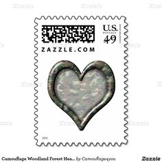 #Camouflage Woodland Forest Heart Stamps by #Camouflage4you #Zazzle #Gravityx9 -