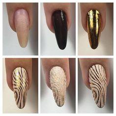 Пошаговые фото дизайна длинных ногтей песком