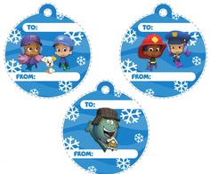 Identify gifts with these festive Bubble Guppies name tags!