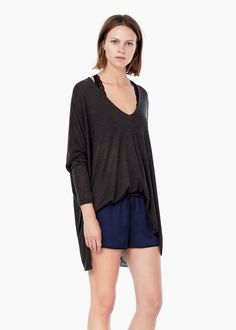 Raw-edged hoodie - Sleepwear for Women | MANGO