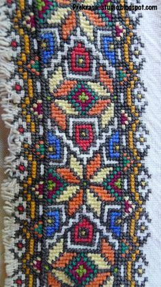 Folk Embroidery, Beaded Embroidery, Embroidery Patterns, Knitting Patterns, Cross Stitch Borders, Cross Stitching, Cross Stitch Patterns, Palestinian Embroidery, Bargello