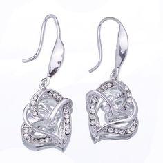 Women Silver Heart HooK 18KGP Crystal Earrings Ear Stud #earrings #eozy
