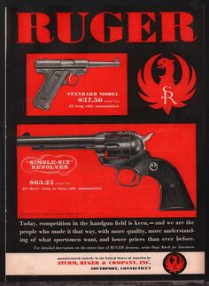 1955 RUGER Standard Model Pistol & Single-Six Revolver AD Print Advertising **^Loading that magazine is a pain! Get your Magazine speedloader today! http://www.amazon.com/shops/raeind