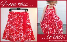 Totally Stitchin: Adult Skirt to Toddler Dress Tutorial  |  LOVE this