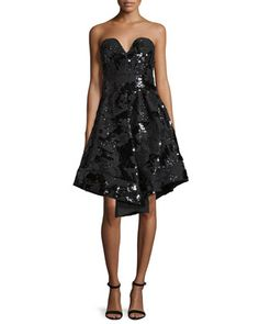 Strapless+Sequined+Cocktail+Dress,+Black+by+Milly+at+Neiman+Marcus.