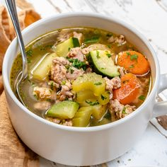 Hearty Italian Sausage Soup for Clean Eating! - Hearty Italian Sausage Soup for Clean Eating! Healthy Soup Recipes, Healthy Foods To Eat, Clean Eating Recipes, Healthy Eating, Paleo Soup, Lunch Recipes, Crockpot Recipes, Healthy Lunches, Chili Recipes