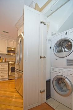 """Find out additional relevant information on """"laundry room stackable washer and dryer"""". Look into our internet site. Laundry In Kitchen, Laundry Cupboard, Laundry Closet, Laundry Room Organization, Small Laundry, Laundry Room Design, Laundry Rooms, Hidden Laundry, Hidden Kitchen"""