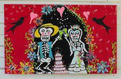 MEXICAN Folk Art DAY OF THE DEAD Flowers cake Bride WEDDING