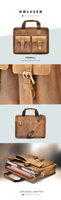 Holssen Ferrell Briefcase is handcrafted with top grain leather that only gets…