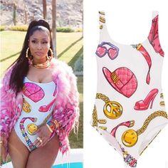 Nicki Minaj Sexy Slim Bodysuit One Piece Low Back Swimwear