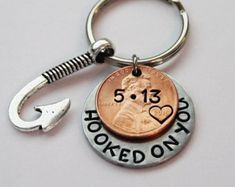 Custom penny keychain. OUR LUCKY DAY by JewelryImpressions on Etsy