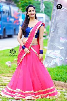 Indian Actress TV Anchor Anasuya Navel Hip In Pink Lehenga Choli - Tollywood Stars Pink Lehenga, Lehenga Choli, Anarkali, Sarees, Tv Actress Images, Glamour Ladies, Indian Designer Outfits, Indian Beauty Saree, Half Saree