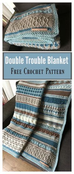 Crochet Afghan Patterns Double Treble Afghan Blanket - Crochet Sampler Variety Scrap Mixed Stitch - This amazing Double Trouble Blanket Free Crochet Pattern is relatively new, but it already become very popular among crocheters. Motifs Afghans, Afghan Crochet Patterns, Knitting Patterns, Crochet Throw Pattern, Crochet Stitches, Baby Afghans, Knitting Ideas, Free Crochet Patterns For Beginners, Pattern Sewing
