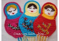 bookmark matrioska crochet