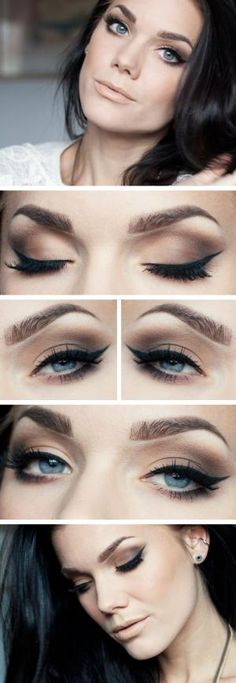 """Today's look : """"Restless Nights"""" ( a beautiful natural everyday smokey eye using the Anastasia brow pro palette as eyeshadow... love how this natural eye is paired with a nude lip. gorgeous!"""