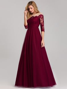 DLHÉ SPOLOČENSKÉ ŠATY | Večerné šaty | Spoločenské / koktejlové / večerné / plesové šaty - šaty na každú príležitosť Evening Gowns Online, Evening Party Gowns, Lace Evening Dresses, Lace Dress, Dark Red Dresses, Affordable Prom Dresses, Prom Dress Shopping, Homecoming Dresses, Burgundy