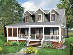 Two-Story Cottage House Plan - 80660PM   Architectural Designs - House Plans Little House Plans, A Frame House Plans, Two Story House Plans, House Plans 3 Bedroom, Best House Plans, Small House Plans, Cottage House Plans, Cottage Homes, Wausau Homes