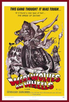 """WEREWOLVES ON WHEELS 1971. ON DVD.  A """"Satan"""" biker movie!  Look for: smoking joints, riding with no hands, naked breasts, tough fist fighting, and stoner mayhem. Biker chick punches her fist in the air. The stoner jam-rock band on the soundtrack tries to sound tough, and fails gloriously.   Folk-rock singer Barry McGuire, who had the hit, """"Eve of Destruction, plays a biker gang member. In 1971 Barry McGuire became a born-again Christian! Probably had something to do with this movie."""