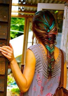 colorful boho hair-this is kinda cool for summer