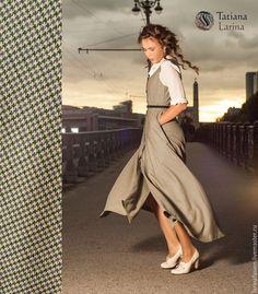 Купить Платье - сарафан из тонкой шерсти, платье синее зеленое бежевое в офис - платье, сарафан