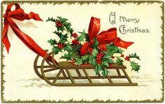 Old Design Shop ~ free printable vintage Clapsaddle sleigh holly Christmas postcard