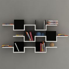 Decortie Ales 3-Tier Wall Shelf, White/Black | ACHICA
